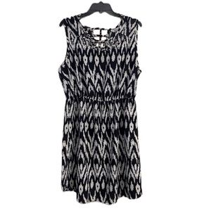Bloom Black And White Patterned Women's Dress 1X